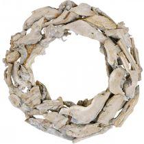Wieniec drewniany Korzenie i Gałęzie Biały Washed Wieniec dekoracyjny Ø40cm H9cm