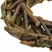 Dekoracyjny wieniec z gałęzi i kory omszały Ø40cm