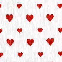 Krepina z serduszkami Krepa florystyczna Dzień Matki Czerwona, Biała 50×250cm
