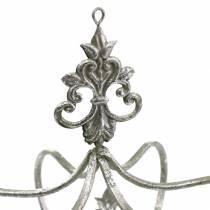Ozdobna korona srebrna metalowa Ø17,3 cm W22,5 cm