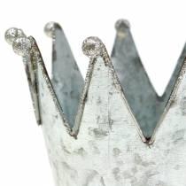 Donica dekoracyjna korona metalowa srebrna Ø13,5cm H11,5cm 2szt.