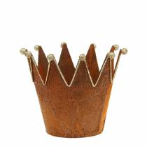 Donica dekoracyjna korona rust gold Ø13,5cm H11,5cm 2szt.