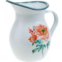Deco Dzbanek, Kwiat Wazon Vintage Look, Emalia Dzbanek z motywem róży H19cm