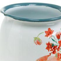 Dzbanek dekoracyjny z dzikimi różami, dzbanek emaliowany, metalowy wazon vintage look H12,5cm