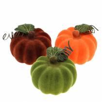 Mini dynia flokowana pomarańczowa, zielona, czerwona Ø9cm 6szt.