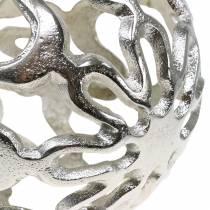 Kula Deco ażurowa metalowa srebrna Ø15cm