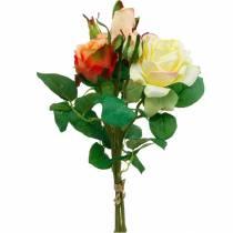 Sztuczne kwiaty, bukiet róż, dekoracja stołu, jedwabne kwiaty, sztuczne róże żółty pomarańczowy