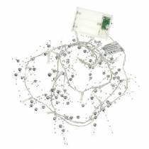 Łańcuch świetlny LED girlanda z pereł srebrny ciepły biały L120cm