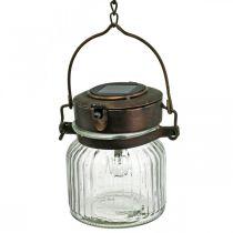 Latarnia LED, lampa wisząca, lampa solarna w szkle Ø11cm H14cm
