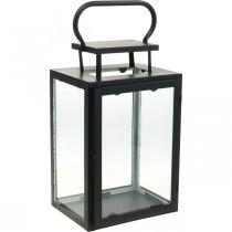 Deco Latarnia Czarny Metal, Szkło Prostokątna Lampa Wiatrowa 19x15x30,5cm