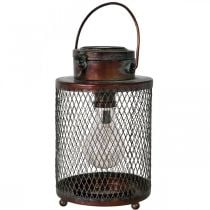 Metalowa latarnia, lampa solarna, LED, antyczny wygląd Ø13,5cm H28,5cm