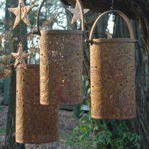 Metalowy lampion ze szlachetną rdzą, dekoracja na lato, zestaw lampionów z wzorem paisley Ø20/19/14cm H23,5/17/12,5cm