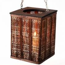 Lampion z plecionym wzorem, dekoracja świec do powieszenia, drewniany lampion H41cm