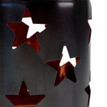 Lampion z motywem gwiazdek czarny-miedź Ø10cm H13,5cm