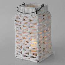 Lampion z uchwytem, świeca ozdobiona makramą, abażur z plecionym wzorem H35,5cm