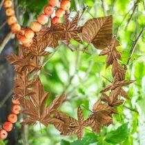 Liść Wieniec Rdza, Dekoracja metalowa, Wieniec odpoczynku, jesień dekoracji, kwiat pamięci Ø29cm