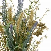 Sztuczna lawenda wiązanka, kwiaty jedwabne, bukiet polny z lawendy z kłosami i łąki