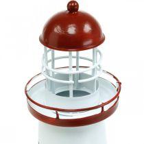 Latarnia morska czerwona Nautical Deco Metalowa dekoracja letnia