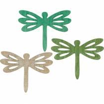 Ważki do rozrzucania, drewniana dekoracja letnia, dekoracja stołu zielona 48szt.