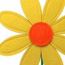 Filcowy kwiat żółty, pomarańczowy, zielony Ø25,5 cm x W68 cm oprawa okienna