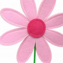 Filcowy kwiatek różowy, różowy, zielony Ø25,5cm x H67cm