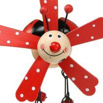 Gong wietrzny biedronka drewniany czerwony 12cm