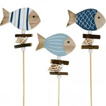 Wtyczka do dekoracji marynistycznych, rybki i muszelki na patyku, dekoracja morska, drewniane rybki 6szt.
