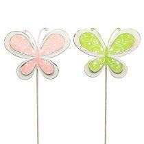 Korek metalowy motyl zielony, różowy 52cm 2szt.