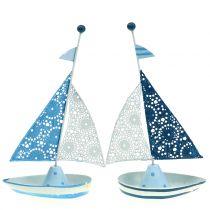 Żaglówka dekoracyjna metalowa niebieska, biała 12,5cm x 20,5cm 2szt.