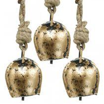 Metalowe dzwonki do zawieszenia, dekoracja wiejskiego domu, krowi dzwonek Złoty, antyczny wygląd 5×3,5cm 12szt.