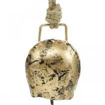 Dzwonki do powieszenia, mini dzwonki krówki, wiejski dom, dzwonki metalowe Złote, antyczny wygląd 7×5cm 12szt.