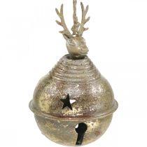Metalowe Dzwoneczki z Reniferem Dekoracja, Dekoracja Adwentowa, Świąteczny Dzwoneczek z Gwiazdkami, Złote Dzwoneczki Antyczny Wygląd Ø9cm H14cm 2szt.
