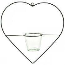 Lampka wiatrowa serce metalowe 38cm uchwyt na tealight do zawieszenia z kieliszkiem