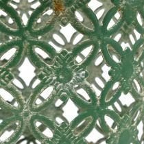 Kosz metalowy owalny z rączką 25cm x 16,5cm H21cm Zielony