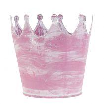 Korona metalowa różowa biała płukana Ø10cm H9cm 6szt.