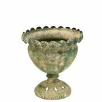 Puchar dekoracyjny antyczny wygląd metalowy mech zielony Ø13cm H14,5cm