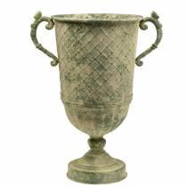 Deco Goblet z diamentem wzór antyczny wygląd metalu moss zielony Ø24,5cm H45cm