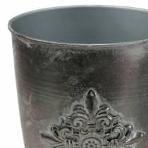 Metalowy puchar dekoracyjny puchar z ornamentem srebrnoszary Ø16,5cm H31cm