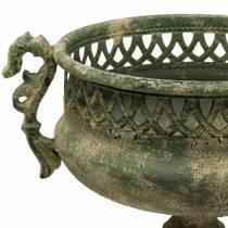 Puchar dekoracyjny antyczny wygląd metalu mech zielony Ø19cm H35,5cm