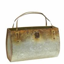 Planter Bag Metal Grey / Rust H16cm