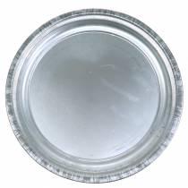 Płytka dekoracyjna metalowa srebrna błyszcząca Ø36cm H3cm