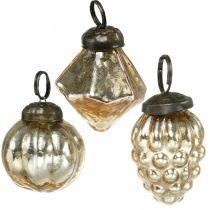 Mini kule choinkowe, diament/kula/stożek, mix do zawieszania na drzewie antyczny wygląd Ø3-3,5cm H4,5-5,5cm 9szt.