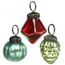 Mini bombki choinkowe mix, diament/kula/stożek, szklane kulki antyczny wygląd Ø3-3,5cm H4,5-5,5cm 9szt.