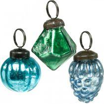 Mini kule szklane mix, diament/kula/stożek, ozdoba choinkowa antyczny wygląd Ø3-3,5cm H4,5-5,5cm 9szt.