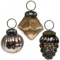 Mini kule świąteczne, diament/kula/stożek, szklana zawieszka mix antyczny wygląd Ø3-3,5cm H4,5-5,5cm 9szt.