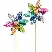 Mini Wiatraczek, Dekoracja imprezowa, Wiatraczek na patyku kolorowy, Dekoracja do ogrodu, Wtyczka do kwiatów Ø8,5cm 12szt.