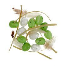 Mini jajko zielono-białe 2,5 cm 48 szt
