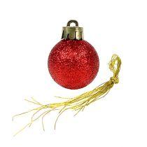 Kula świąteczna mini czerwona Ø3cm 14szt