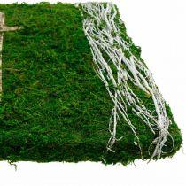 Obraz z mchu i krzyża na grób zielony, biały 40×30cm