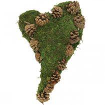 Dekoracja nagrobna Serce z mchu i szyszek Aranżacja kwiatowa 30×19cm